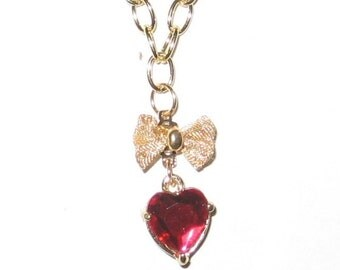 Red Heart Necklace - 1247