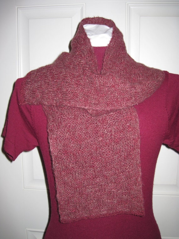 Qiviut Knitting Patterns : Qiviut Musk Ox Scarf Knitted Maroon Burgundy by SpeckledLamb