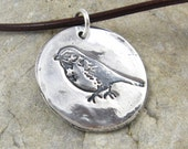 Silver Bird Necklace Hand Stamped Eco Friendly PMC Jewelry Woodland Finch Rustic Artisan PMC Pendant For Her