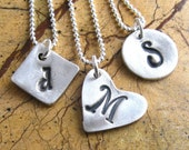Valentine For Her Silver Initial Necklace Personalized Jewelry Sterling Silver Necklace Hand Stamped Monogram Necklace Silver Pendant