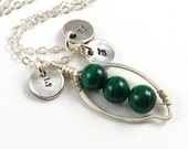 Silver Peapod Necklace Mother's Necklace Personalized Silver Monograms Emerald Green Malachite Necklace Peas in a Pod