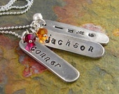 Personalized Mother's Necklace Childrens Names Birthstone Necklace For Mom Or Grandma