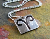 Aries Necklace Silver Zodiac Necklace March Birthday April Birthday Personalized Silver Necklace PMC Fine Silver Artisan Pendant