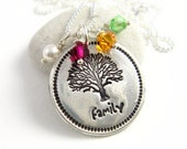 Family Tree Necklace For Grandma Mother's Day Necklace Silver Personalized Mother's Necklace Swarovski Birthstone Necklace Eco Friendly