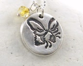 Silver Bee Necklace Garden Lover Gift Gardener Gift Yellow Citrine Necklace Eco Friendly Necklace Hand Stamped Artisan Pendant