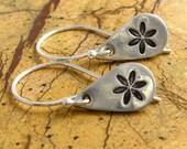 Silver Flower Earrings Personalized Earrings Om Earrings Chai Earrings Music Note Earring PMC Eco Friendly Earrings Drop Earrings