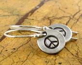 Peace Sign Earrings Personalized Silver Earrings Eco Friendly PMC Drop Earrings