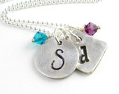 Initial Necklace Personalized Birthstone Initial Necklace Silver Monogram Necklace Fine Silver PMC Pendants Mother's Necklace Under 50