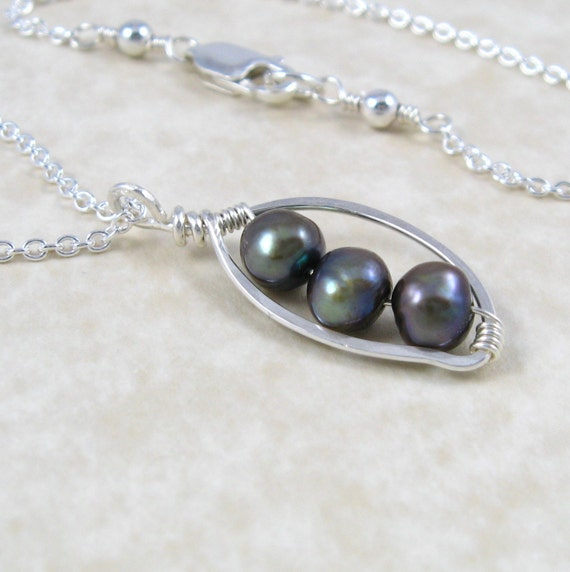 Pea Pod Necklace in Sterling Silver and Freshwater Pearl