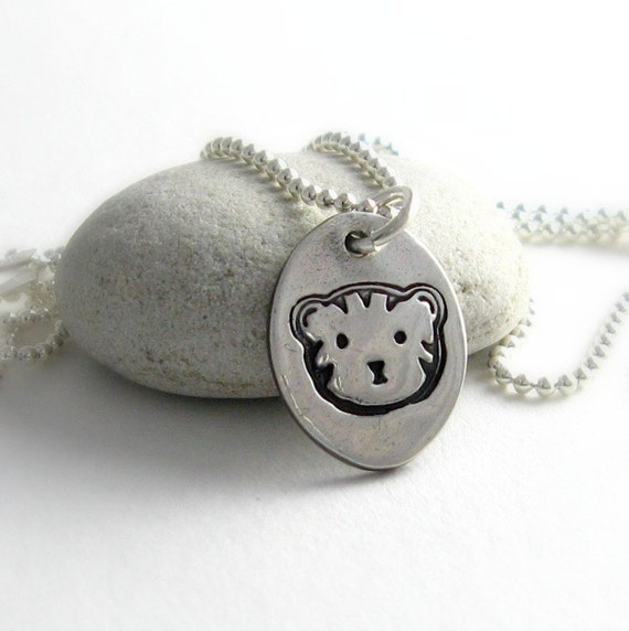 Silver Cat Necklace Feline Pet Lover Necklace Gift For Cat Owner Fine Silver PMC Cat Charm Handstamped Silver
