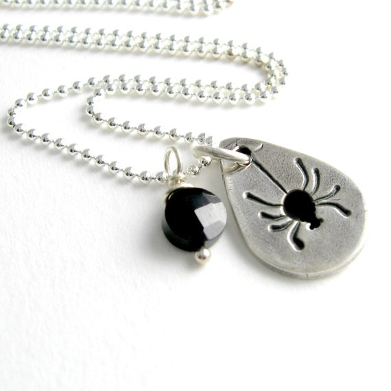 Black Spider Necklace Silver Spider Necklace Halloween Necklace Halloween Costume Black Gemstone PMC Fine Silver Handstamped Artisan Pendan