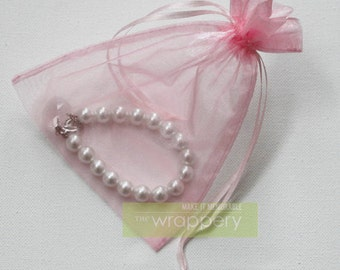 Large 25 Pink Organza Bags - 5 x 6.5 inches - great for wedding favors