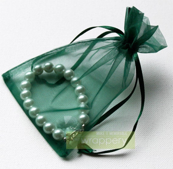 25  Forest Green Medium Organza Bags - 4 x 6 inches - great for wedding favor and small items