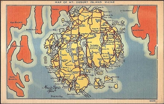 Mt. Desert Island, Maine Vintage Postcard - Map of Mt. Desert Island
