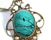 Turquoise Sky Cameo Art Pendant Resin Jewelry Necklace Resin Pendant Photo Charm Pendant, Resin Picture Pendant  (0267)