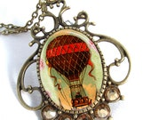 Vintage Brass & Crystal Resin Pendant Hot Air Balloon Art Pendant Resin Jewelry Necklace Photo Charm Pendant, Resin Picture Pendant (0244)
