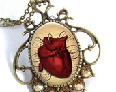 Heart Cameo Pendant Resin Pendant Glass Pendant Art Pendant Picture Pendant Resin Jewelry  (0247)