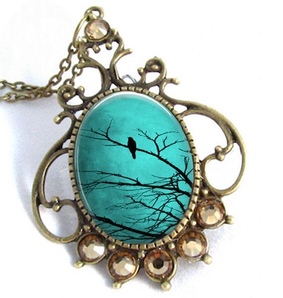 Turquoise Sky Cameo Art Pendant Resin Jewelry Necklace Resin Pendant Photo Charm Pendant, Resin Picture Pendant  (0267)