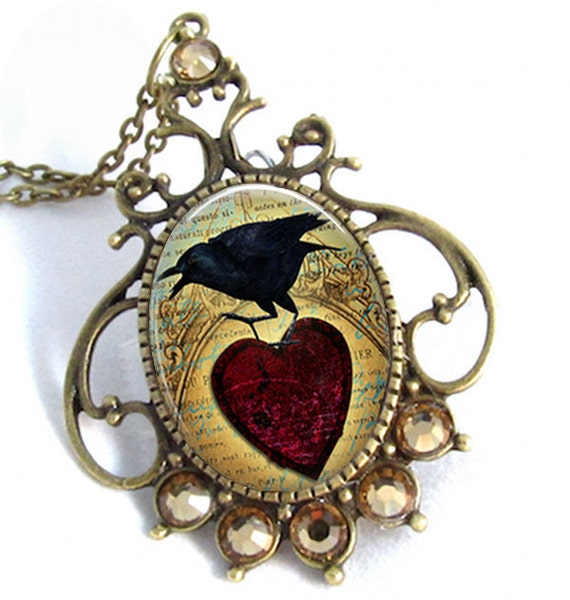 Vintage Brass Red Heart Raven Art Pendant Resin Jewelry Cameo Necklace Resin Pendant Photo Charm Pendant, Resin Picture Pendant  (0266)