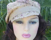 Paisley Twist Mod Newsboy Cap in Taupe and Purple by mojo indigo