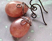 Muscovite Earrings, wire wrapped. Raspberry, Cream. Empress Rose.