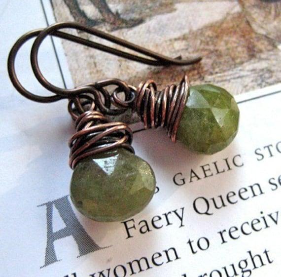 Earrings, Green Garnet. Patrice Sparkles.