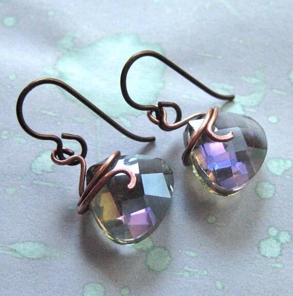 Crystal AB Earrings, Blue, Purple.  Samhain Sparkle.