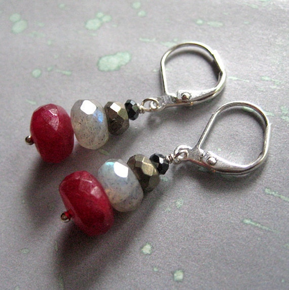 Ruby, Labradorite, Pyrites and Spinel Earrings. Samhain Melody.