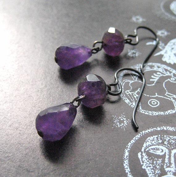Earrings, Amethyst. Brigit's Romance.