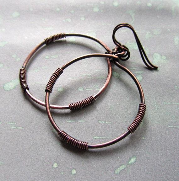Earrings, Copper Hoops. Mystic Goddess.