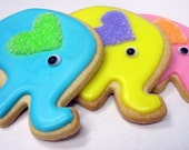 ELEPHANT SUGAR COOKIES, 12 Decorated Sugar Cookie Favors