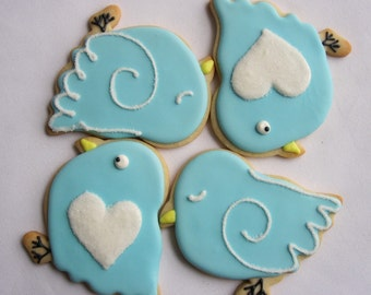 BLUEBIRD SUGAR COOKIES, 12 Decorated Sugar Cookie Favors