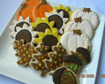 AUTUMN HARVEST Sugar COOKIES, Decorated Sugar Cookie Gift Box, 18 Cookies