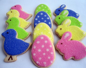 EASTER Sugar Cookies, Bunnies Chicks and Eggs, 1 Dozen Gift Boxed