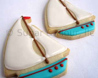 SAILBOAT SUGAR COOKIES, 12 Decorated Sugar Cookies
