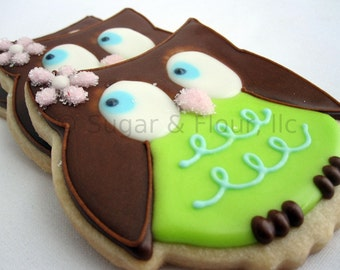 OWL SUGAR COOKIES, 12 decorated Sugar Cookie Favors
