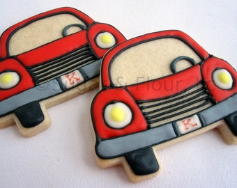LITTLE RED CAR Cookies, 12 Decorated Sugar Cookies