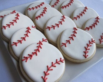 BASEBALL COOKIES, 12 Decorated Sugar Cookie Party Favors