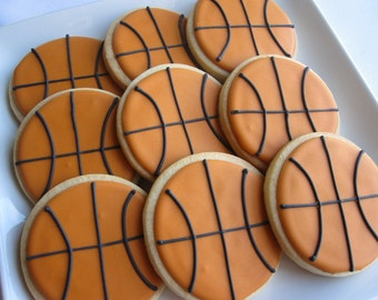 BASKETBALL COOKIES, 12 Decorated Sugar Cookie Party Favors