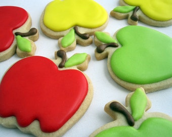 APPLE SUGAR COOKIES, 6 Decorated Sugar Cookies