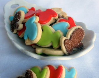 MINI SUGAR COOKIES, Christmas Mitten Itty Bitty Sugar Cookies, 1/2 Pound
