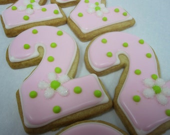 NUMBER TWO Sugar Cookie Party Favors, 1 Dozen