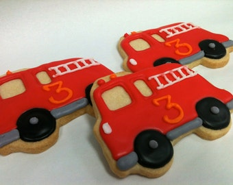 RED FIRE TRUCK Sugar Cookie Party Favors, 1 Dozen