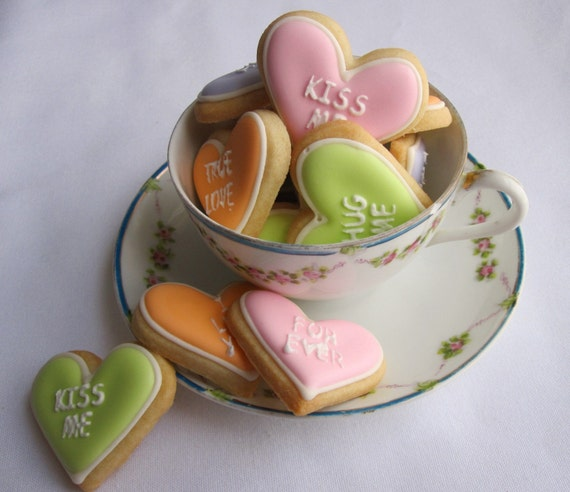 Valentines Day CONVERSATION HEART Sugar Cookies 2 by sugarandflour