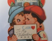 Small Vintage Valentine, Couple Playing Post Office