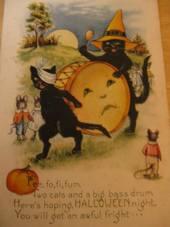 RESERVED For Bucky29, Vintage Halloween Postcard, Whitney Made, Black Cats. Drum With Moon Face, Mice In Clothing