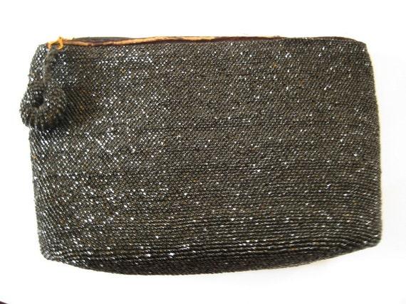 Dressy Vintage Black Beaded Evening Bag/Purse