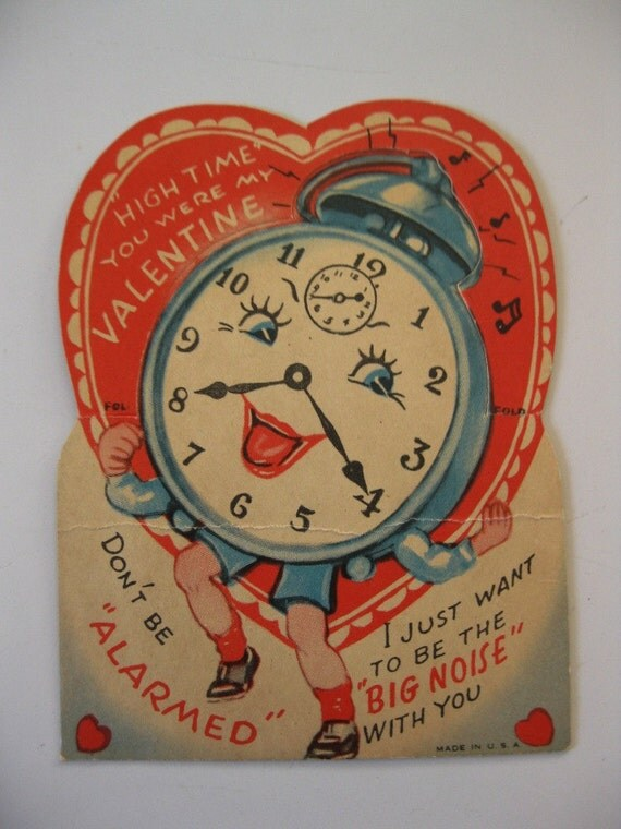 Vintage Valentine, Cute Little Alarm Clock Card