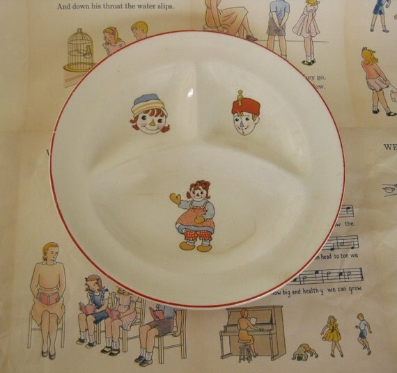 Vintage Child's/Baby Divided Plate/Dish With Raggedy Ann and Andy From Crooksville