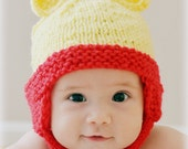 Teddy Bear Hat, Winnie The Pooh Baby Hat, Photo Prop Knitted Handmade Animal Bear Cartoon Red Yellow NB Newborn Infant Toddler Ear Flap
